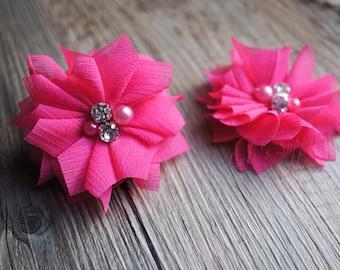 """Set of 2 - Hot Pink Chiffon Beaded Flowers - 3"""" Chiffon Flowers - Folded Chiffon Flowers - Hot Pink Fabric flowers - Chiffon Pearl Flowers"""