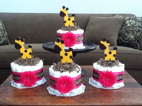 Giraffe Hot Pink Diaper Cake Baby SHower Centerpieces Bundt
