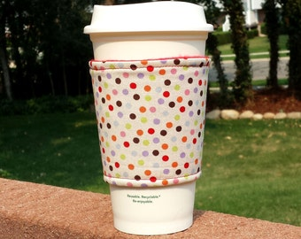 FREE SHIPPING UPGRADE with minimum -  Fabric coffee cozy / cup holder / coffee sleeve  / tea sleeve -- Autumn polka dots