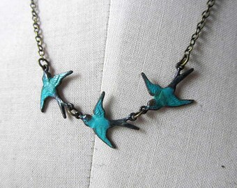 Three Teal turqouised blue  patina antique bird on antiqur bronze necklace