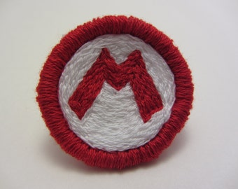 Mario 'M' Hand Embroidered Merit Badge-Style Patch