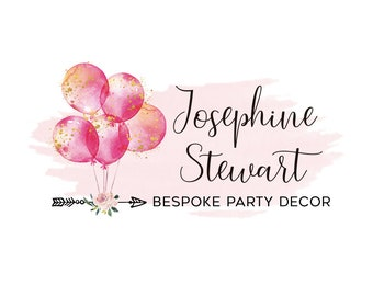 Party decor logo premade logo design boutique logo photography logo small business logo balloons logo bespoke party logo