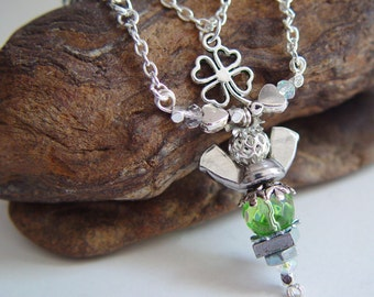Antique Silver, Reflective Kelly Green, Silver Beaded Wing Nut Angel St Patty's Day Necklace