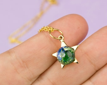 Tiny Gold Star Necklace Green Stone Dainty Jewelry One of a Kind Gifts for Her