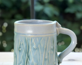 Pale Blue color Stoneware Mug with Impressed Pattern and Copper Oxide wash - 10 ounce