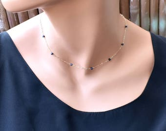 Sapphire Necklace, Dainty Gold Sapphire Crystal Necklace, Sterling Silver Blue Stone Necklace, Choker Necklace, September Birthstone Jewelry