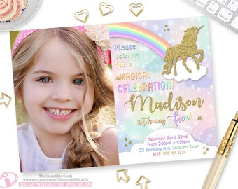 Unicorn Invitation, Rainbow Invitation, Magical Birthday Invitation, Unicorn Birthday Invitation, Rainbow Birthday Invitation,