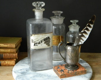 Antique Square Glass Apothecary Bottle with Stopper.