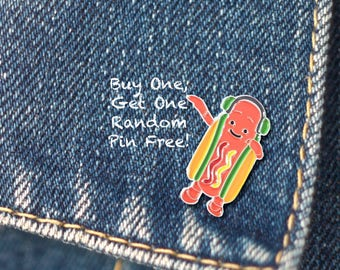 BUY 1, GET 1 Random Pin Free! Dancing Hot Dog Meme Enamel Pin Hotdog Lapel Pin Internet Meme Pin Badge Soft Enamel Pin Cute Pin Funny Pin