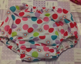 Adult Baby Waterproof dotty design pants/nappy covers with  full white plastic  lining