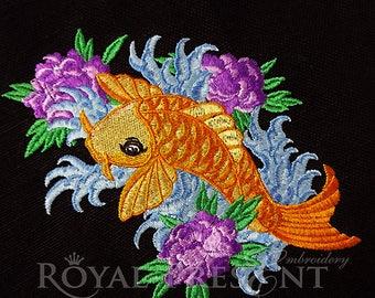 Machine Embroidery Design – Tattoo Koi Fish (2 in 1)