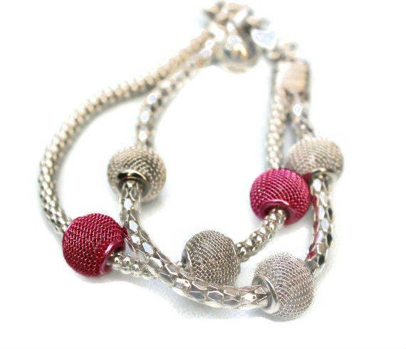 Silver corlor metal snake chain bracelet with pink and silver color metal beads