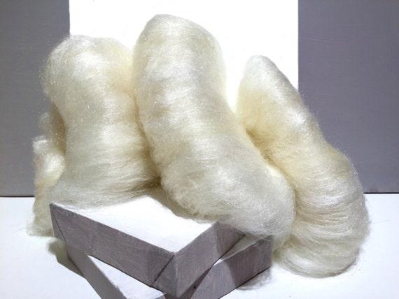 "Sparkly White wool, Firestar, Christmas Village Snow, ""Snowflake"", Needle Felting Snow man, Ornament, decorative fiber Winter decor New snow"