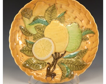 Vintage Ceramic Collectible 8 inch Plate Orange with lemon and lime - Tropical Theme