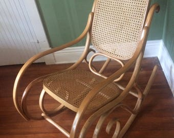 Authentic 1960s Thonet Bentwood & Cane Rocker