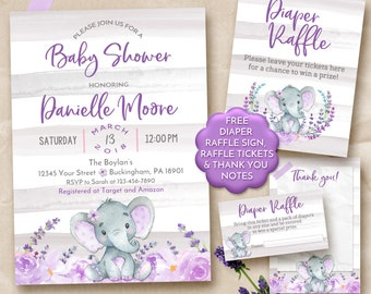 Elephant Baby Shower Invitation Girl, Girl elephant baby shower invitations, Pink Floral Baby Shower Invitation