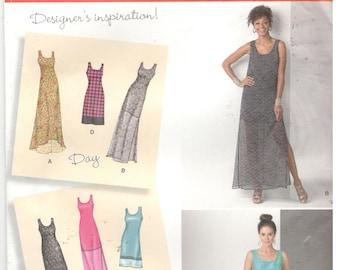 Simplicity 1611 Size 16, 18, 20, 22, 24. Plus size women's pattern: sleeveless dress in 3 lengths or hi-low hem, sheer overlay, maxi dress