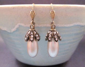 Pearl and Rhinestone Earrings, Flower Bead Caps, Off White and Brass Dangle Earrings, FREE Shipping U.S.