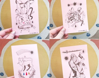 Only ONE left! A6 Original Drawings in Brown Ink - PINK