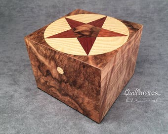 Star of the West Keepsake Box in Walnut Burl by Quiltboxes