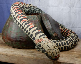 Vintage Snake Charmer Snake &Basket Antique,Magic,Theatre prop,snake in basket