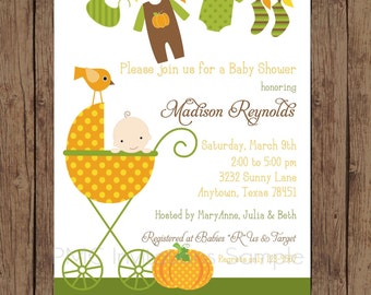 Custom Printed Boy Pumpkin Baby Shower Invitations - 1.00 each with envelope