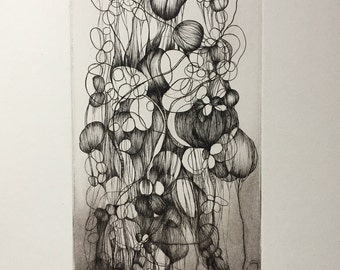 Original print, a plant, chisel on metal, printing, intaglio etching