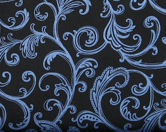 Electric Blue Scroll on Black 100% Cotton Quilt Fabric Blender for Sale, Star Dust by Studio E, SEF2983-99, Fat Quarter, Yardage