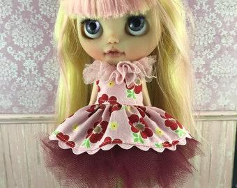 Blythe Tutu Dress Set - Pink and Red Floral