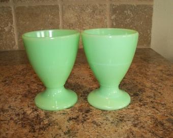 Set of 2 McKee Jadite Jadeite Egg Cups Pedestal Juice Tumblers