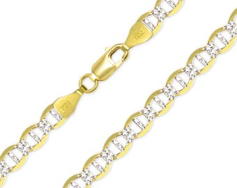 "14K Solid Yellow Gold White Pave Mariner Necklace Chain 7.7mm 22-26"" - Diamond Cut Anchor Link"