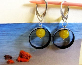 Amber Earrings yellow round opaque  beads in metal ring 3.1 gr. Natural Baltic silver color french clasp chandelier
