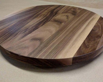 "Walnut Lazy Susan Turn Table 12""-14"" Center Piece Solid Hardwood"