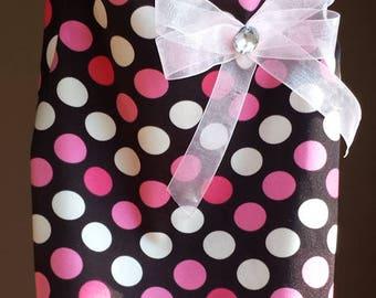 Handmade  Pink brown polka dot Spandex bubble gum dog tshirt