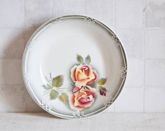 French DIGOIN SARREGUEMINES Floral Soup Bowl Plate || Vintage French Dinner Plates - Floral Decor Shabby Chic Style