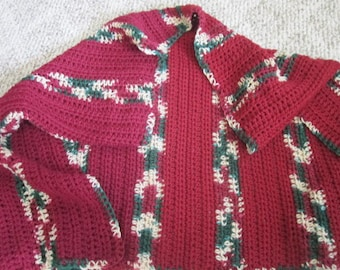 "Handmade Crochet ""Comfort Shawl"",Maroon and vericated, 50"" x 30"""