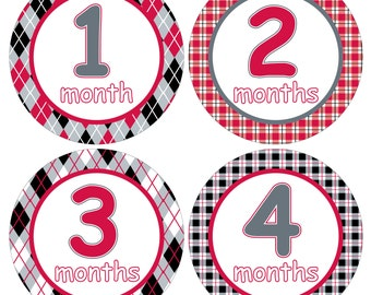 12 Monthly Baby Milestone Waterproof Glossy Stickers - Just Born - Newborn - Weekly stickers available - Design M029-03