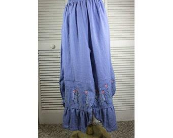 Garden Pants - Wisteria Linen w/ Floral Art XL Ready to Ship