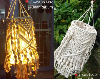 Macrame Lampshade/cotton/white/handmade