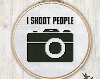 I shoot people Cross Stitch Pattern, modern cross stitch pattern, funny cross stitch pattern, camera cross stitch pattern