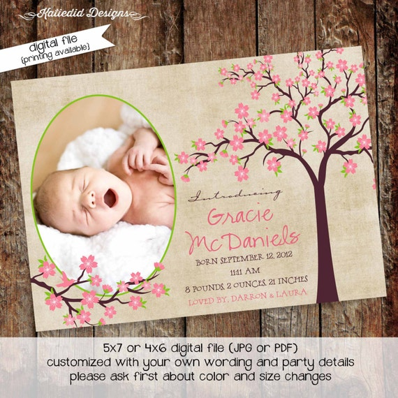 baptism invitation Cherry blossom baby shower first communion memorial announcement Rustic girl 1st birthday floral | 404 Katiedid Designs