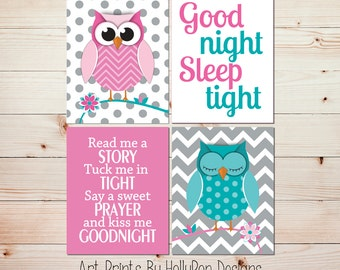 Owl Nursery Art Nursery Wall Art Baby Girl Nursery Wall Decor Pink Turquoise Nursery Decor Read Me A Story Whimsical Owl Print #0874