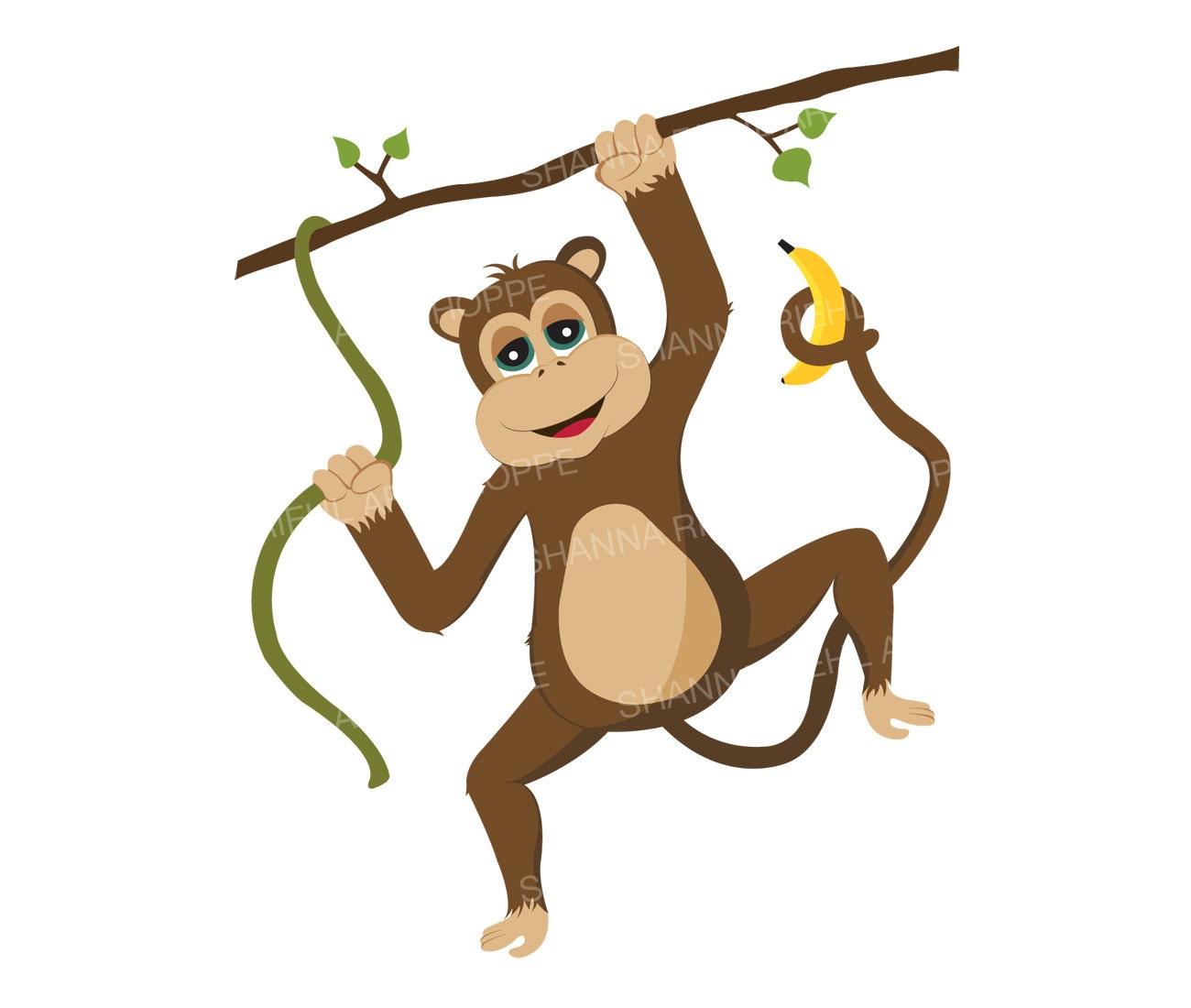 monkey clipart safari animals printable art commercial use rh etsy com baby jungle animal clipart free