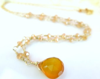 Citrine Rosary Yellow Chalcedony Necklace, romantic gold bridesmaid citrine Victorian necklace, mustard yellow gold wedding necklace