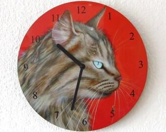 Cat frog clock, wall clock, cat, frog