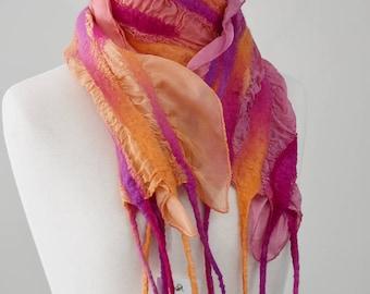 Ladies Nuno Felt Silk & Wool Scarf Shawl Wrap Winter Hand Dyed Wool Scarves Orange Pink Purple 11842