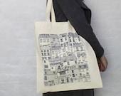 Coastal Cottages tote bag -  reusable shopper bag - reusable grocery bag -  Coastal fabric - Illustrated tote bag - tote bag - coastal art