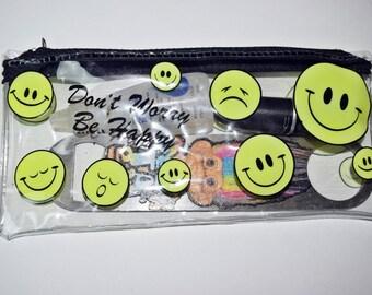VTG 90s PVC Clear Zipper SMILEY Face Wallet