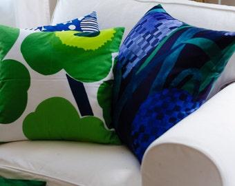 Floral Marimekko Cushion Cover   20x20 pillow   Purple Pillow   Blue Pillow   Floral Pillow   Pattern: Gerda   Abstract Pillow   Handmade