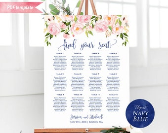 Printable Blush Pink Floral Seating Chart Board, Navy Blue Wedding Seating Plan Template, 24x36 18x24 Poster sign, DIY Instant Download #15
